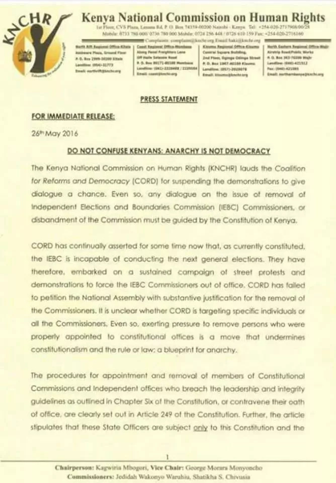Anarchy is not democracy, KNCHR warns CORD