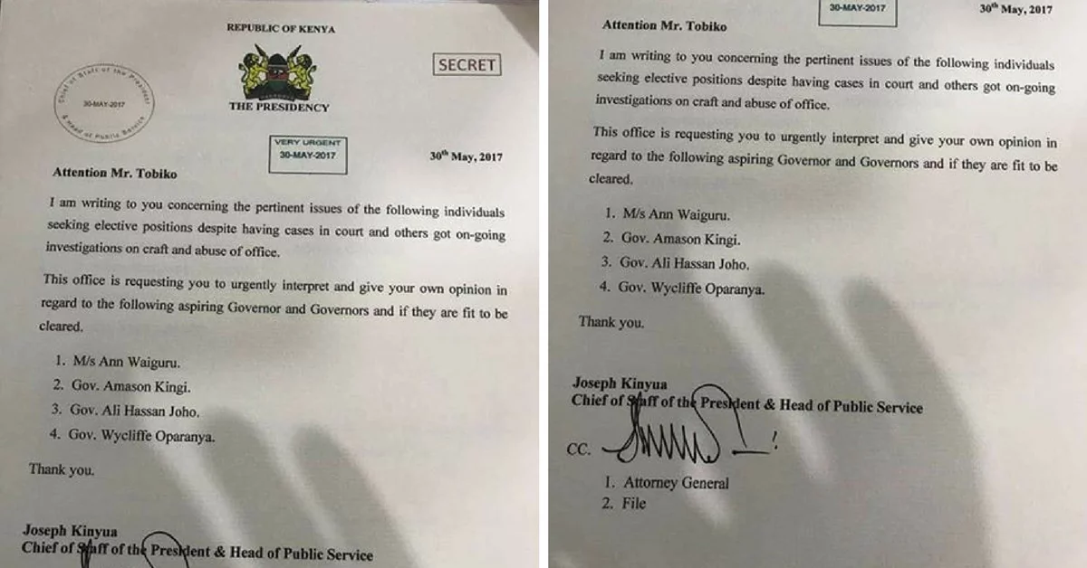 Secret letter from Uhuru's office to the Director of Public Prosecution on Waiguru and Joho