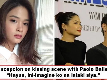 Ang sagwa ba? Yam Concepcion admits she imagines Paolo Ballesteros as a guy during unavoidable kissing scene