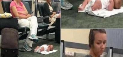 ¿Mala madre? Dejó a su bebé en el suelo para chatear tranquila, la razón que dio es aún peor