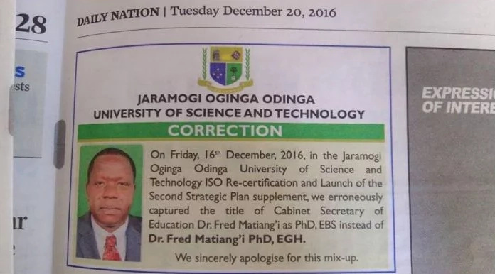 University buys newspaper space to apologise to Matiang'i