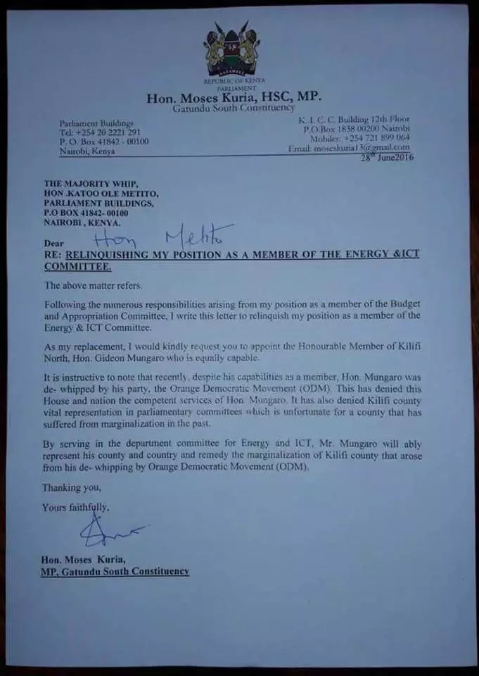 See Moses Kuria's resignation letter from parliament