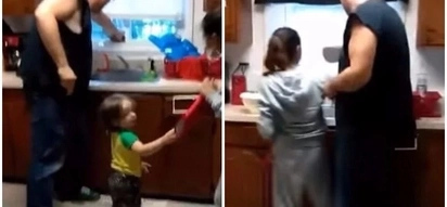 Coward man screams over an insect as his kids stare in disbelieve and wife laughs her stomach out