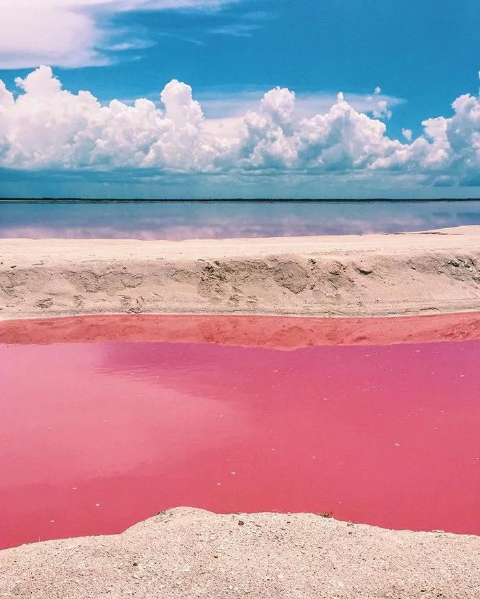 Mira esta laguna rosada natural de México, ¡es hermosa!