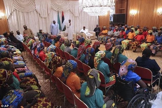 Nigeria's President Muhammad Buhari addressing the girls