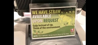 Netizens praise KFC Bulacan branch for starting a 'No Straw Movement'