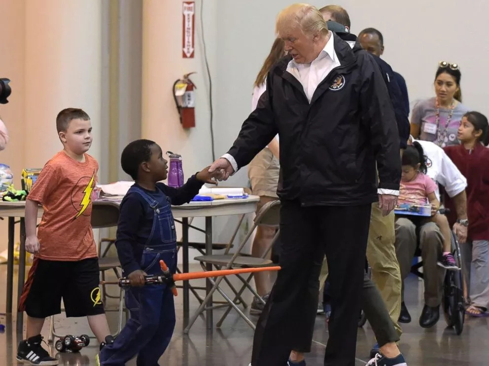 President Trump meets kids impacted by Hurricane Harvey. Photo: ABC