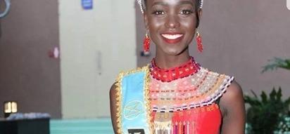 Mwanamitindo kutoka Kenya Magline Jeruto ang'aa wakati wa mashindano ya Miss World