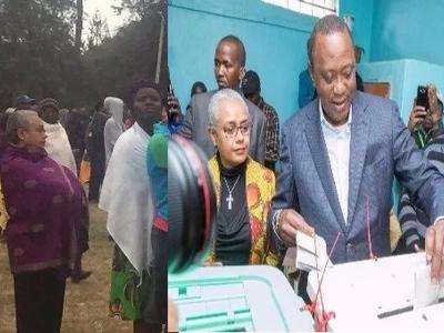 Mkewe Rais Uhuru afanya kitendo kisicho cha kawaida kwenye kituo cha kupigia kura (picha)