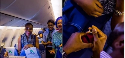 A man elegantly proposes to his girlfriend in an airplane on their way to Dubai