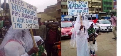 Desperate Nairobi lady parades herself on busy street looking for a husband and everyone is surprised (photos)