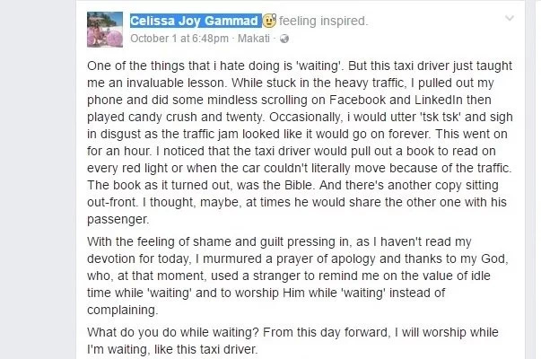 Netizen recalls important lesson from taxi driver