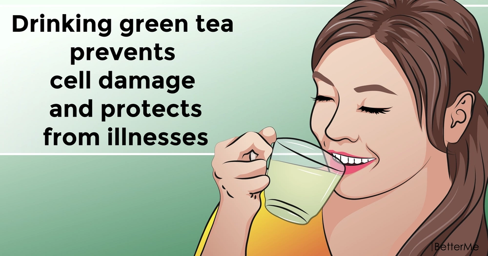 Drinking green tea prevents cell damage and protects from illnesses
