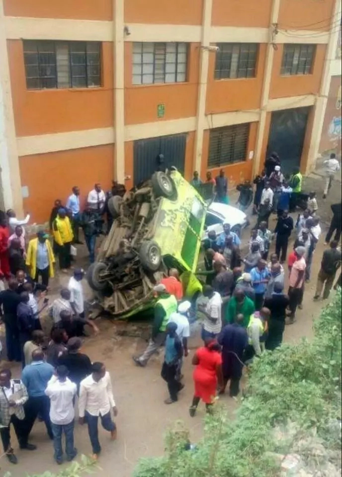 Just in: SCARY accident at City Stadium as matatu plunges off the road