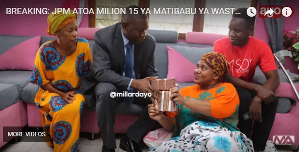 TZ president Magufuli and wife donates KSh 600k to sick actress