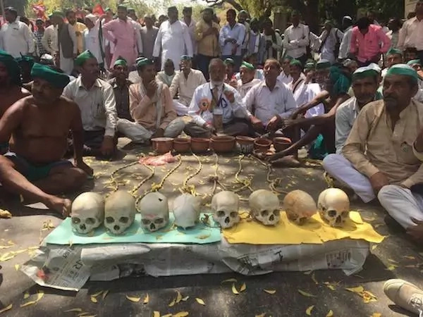 Farmers hold protest over drought and debt using human SKULLS and live rats (photos)