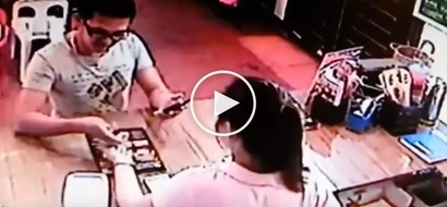 Shocked cashier catches 'conyo' customer stealing money from counter in restaurant