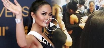 Devastated Miss Thailand breaks down on mother's shoulder after losing Miss Universe bid