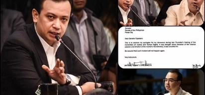 Patawad po! Trillanes apologizes to Cayetano for emotional outbursts during EJK hearing