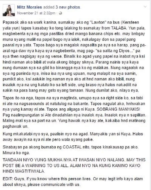 Netizen recalls horrible experience with pervert bus passenger