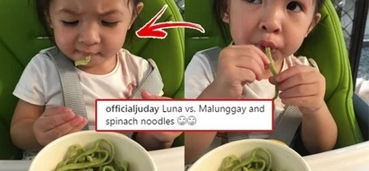 This is the precious moment Juday gives Luna noodles made of veggies and the tot's reaction is priceless!
