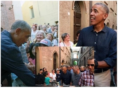 Obama spotted in Bologna being mobbed by excited fans and here is the reason why (photos)
