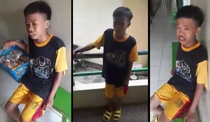 Poor boy in Nueva Ecija sings in public for his family