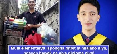 Sa ispongha nanggaling tagumpay niya! Young man graduates from college, paid tuition fees by selling all sorts of sponges
