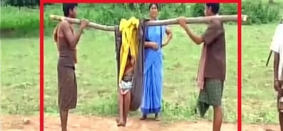 Inhuman! Family carry heavily pregnant woman in sling for staggering 16km to reach ambulance