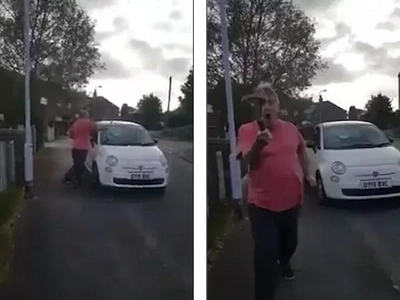 Man smashes window of a car with hammer and then tries to hit HER with it (photos, video)