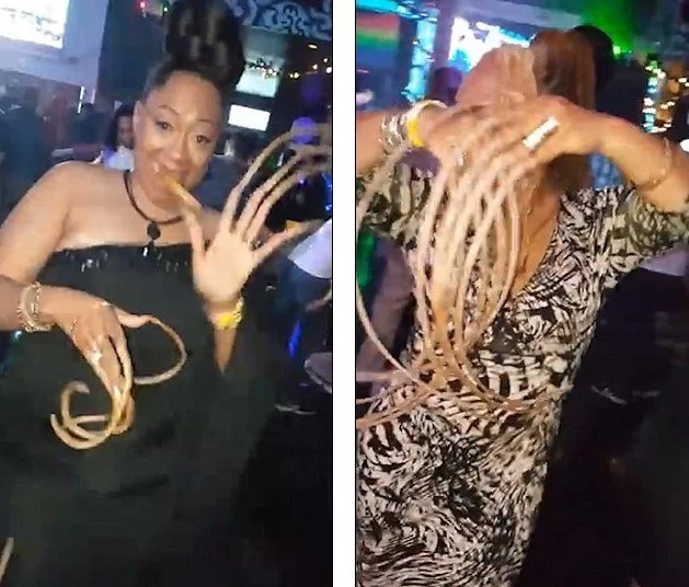 Bizarre! See women with 1-meter long NAILS dancing in club while reveller stare in shock (photos, video)