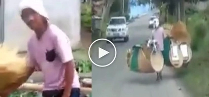 Saludo kami sayo! Hardworking Pinoy vendor carrying heavy items on the street inspires netizens