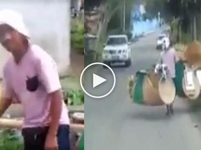 Saludo kami sayo! Hardworking Pinoy vendor carrying heavy items on the street inspires netizens