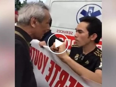 Jim Paredes furiously confronts Duterte supporters in EDSA