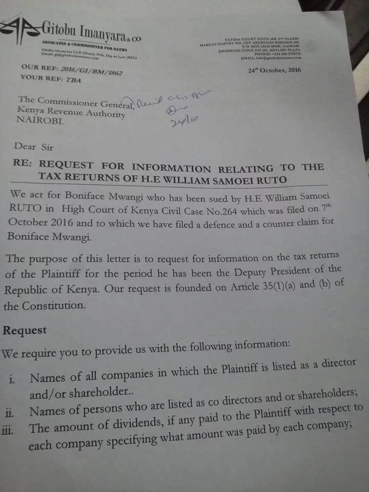DP Ruto-Boniface Mwangi case takes a new, interesting twist