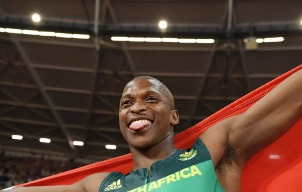 Luvo Manyoga breaks record in first ever indoor long jump competition