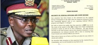 Majaji wa mahakama ya juu wako na ulinzi wa kutosha- Inspekta mkuu wa polisi amjibu Maraga