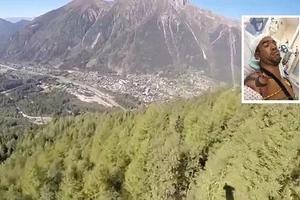 Chocó contra unos árboles tras saltar de una montaña y salió con vida