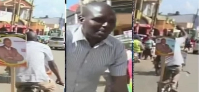Man seeking to unseat DP Ruto's friend from governorship campaigns using a bicycle (photos, video)