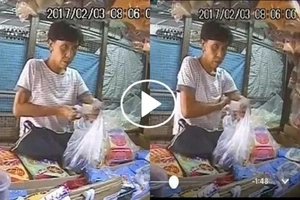 Old woman caught cheating to ask for more change from a store