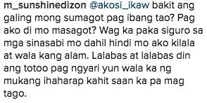 Sunshine Dizon claps back at basher on Instagram account