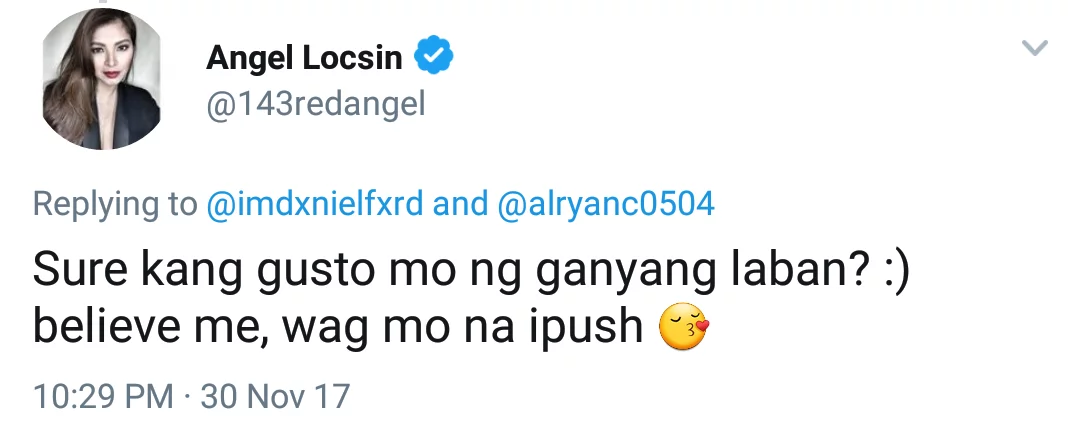 Uubra ba kayo kay Jacintha? Angel Locsin strikes back at basher for mocking her on Twitter
