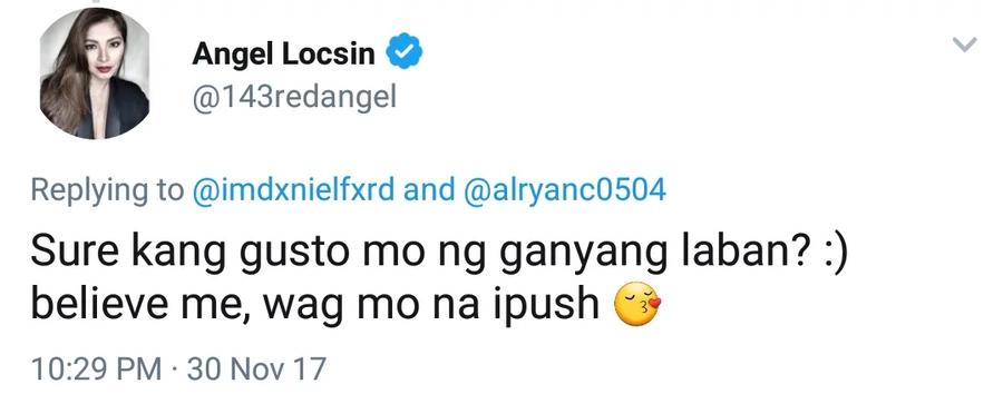 Uubra ba kayo kay Jacintha? Angel Locsin strikes back at basher for mocking her on Twitter