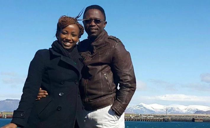 Ababu Namwamba and Priscah Mwaro during their mother's day vacation at Reykjavik Iceland.