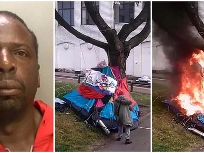 Heartless! See moment arsonist, 51, sets fire to homeless man's tent before calmly walking away