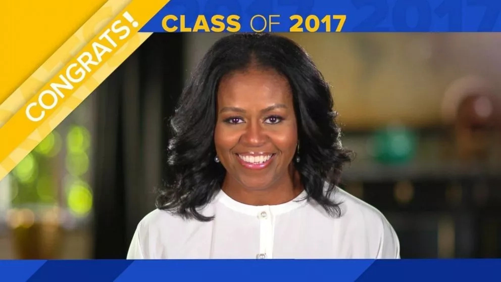 Michelle Obama seen in her video message to high school graduates