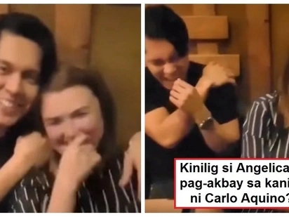 Kinilig ba ng todo si Angge? Video of Carlo Aquino putting his arm around ex-girlfriend Angelica Panganiban goes viral