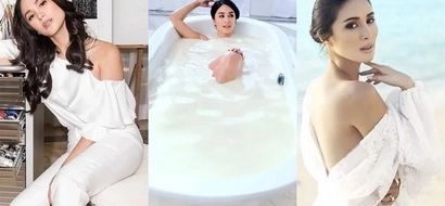 Ito ba ang sikreto sa ganda niya? Heart Evangelista bathes in milk for newest commercial