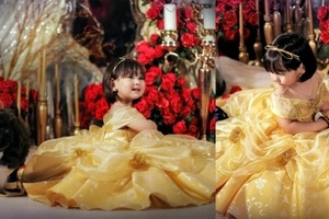 Cuteness overload! Scarlet Snow shows her inner princess as she and her adorable dog dresses up as Beauty and the Beast