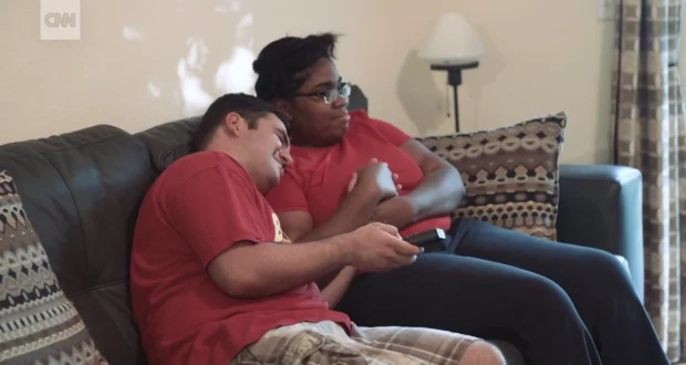 Rare romance! Autistic couple who met on dating site share their UNTOLD love story
